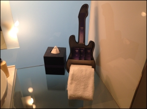 Guitar amenity holder at Hard Rock Hotel Singapore