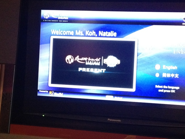 Welcome Ms Koh, Natalie on TV of Hard Rock Hotel Singapore room
