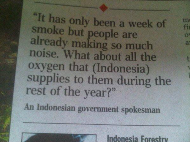 Indonesian spokesman quote SG Haze
