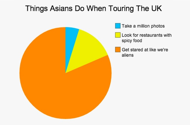 Things Asians Do When Touring UK Pie Chart meme