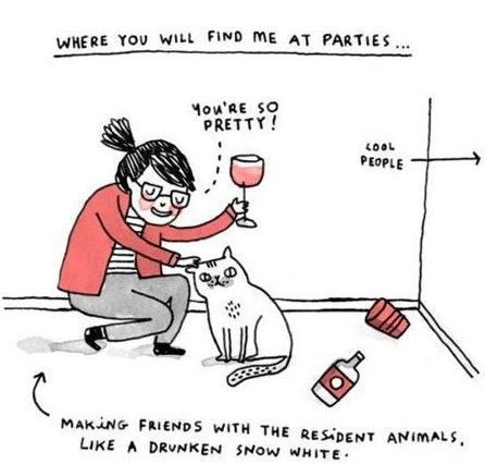 cat lady party cartoon