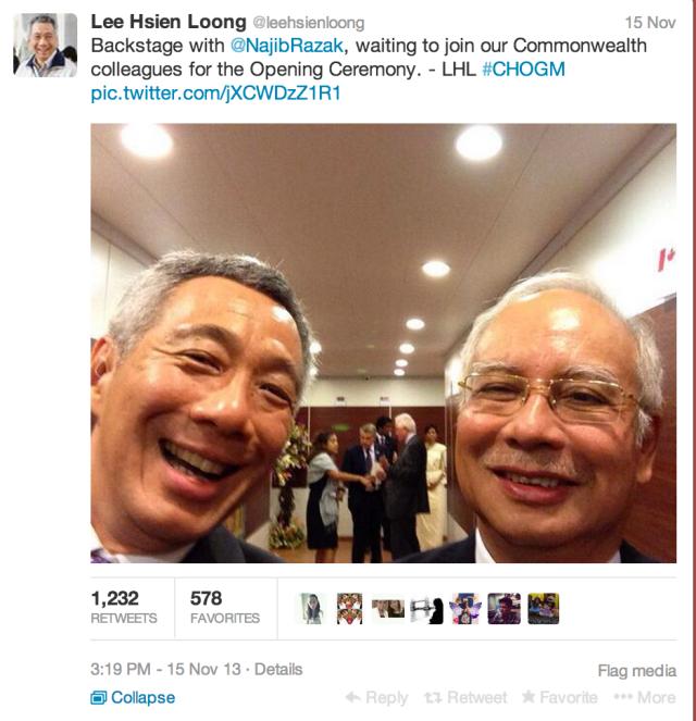 LHL Najib Razak Selfie Twitter