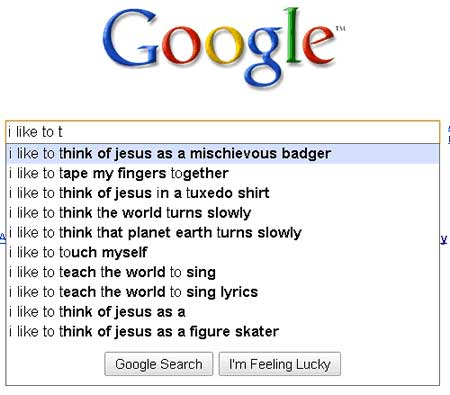 weird google searches jesus mischievous badger